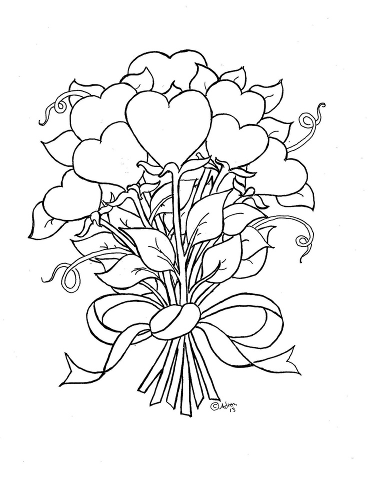 hearts and roses coloring pages getcoloringpagescom - Coloring Pages Roses Hearts