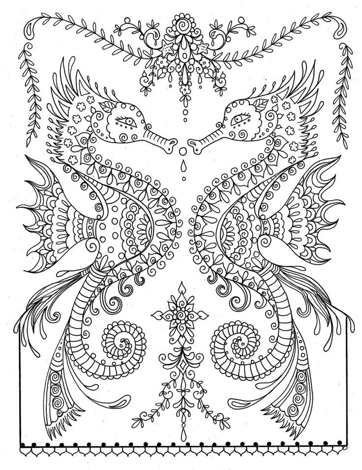 mermaid and seahorse coloring pages - photo#17