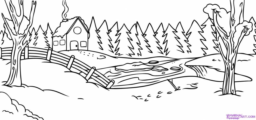 6 Pics Of Winter Scenery Coloring Pages
