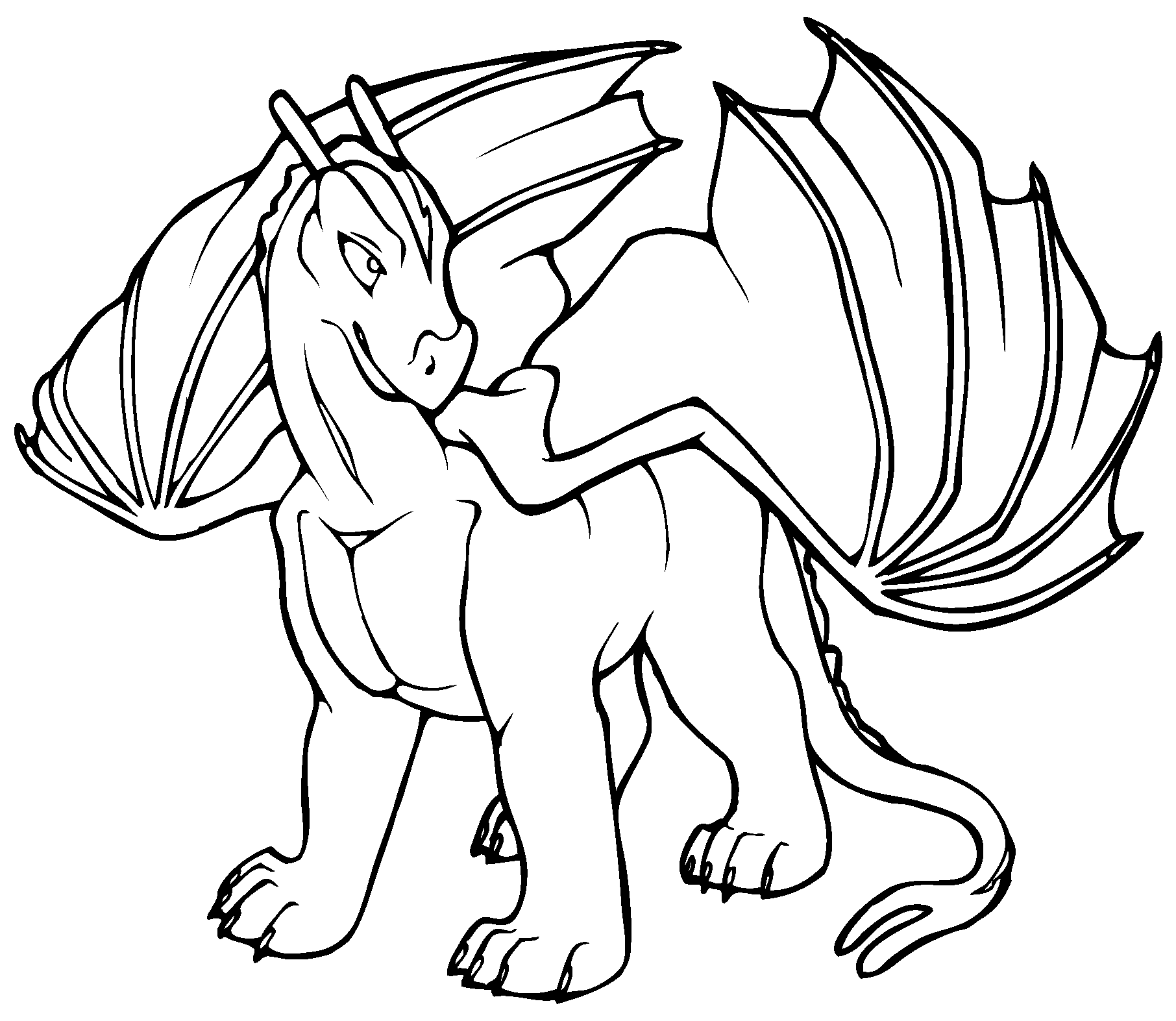 Chinese Dragon. Dragon Coloring Page Fierce Fire Breathing Dragon ...
