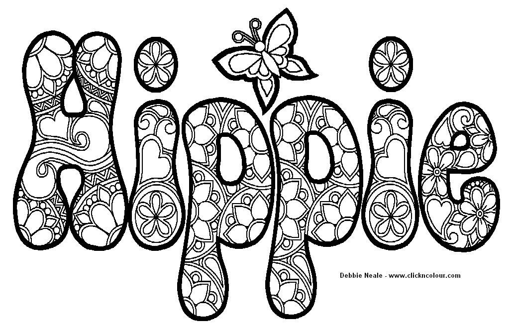 Hippie Coloring Pages For Adults : Cool hippie coloring pages az