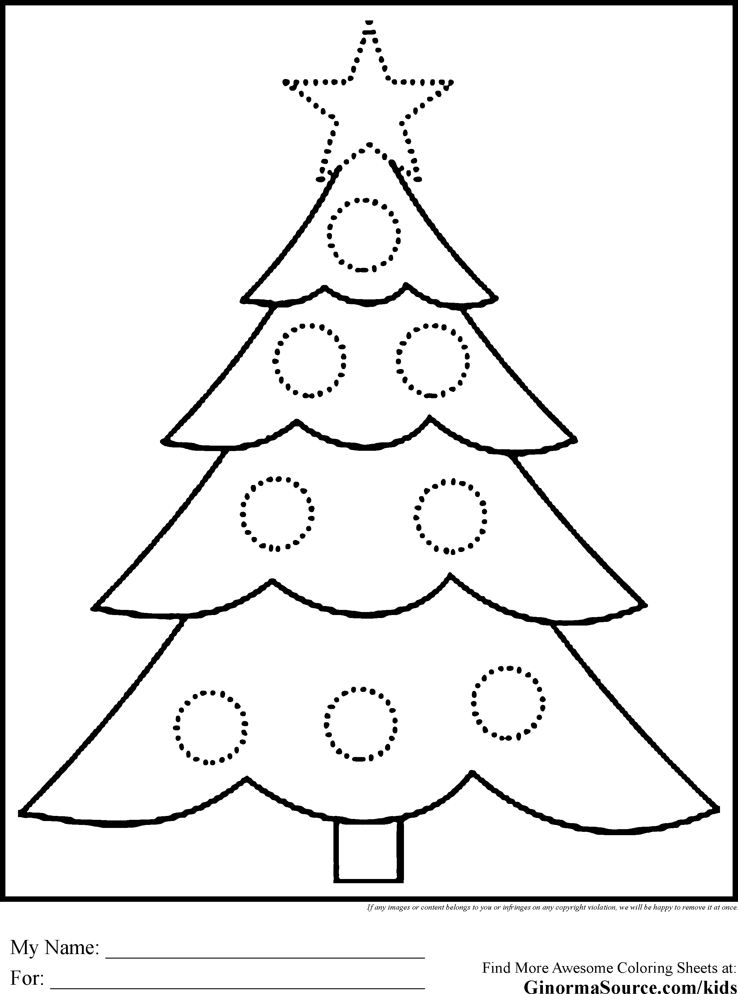 Free coloring pages of xmas trees