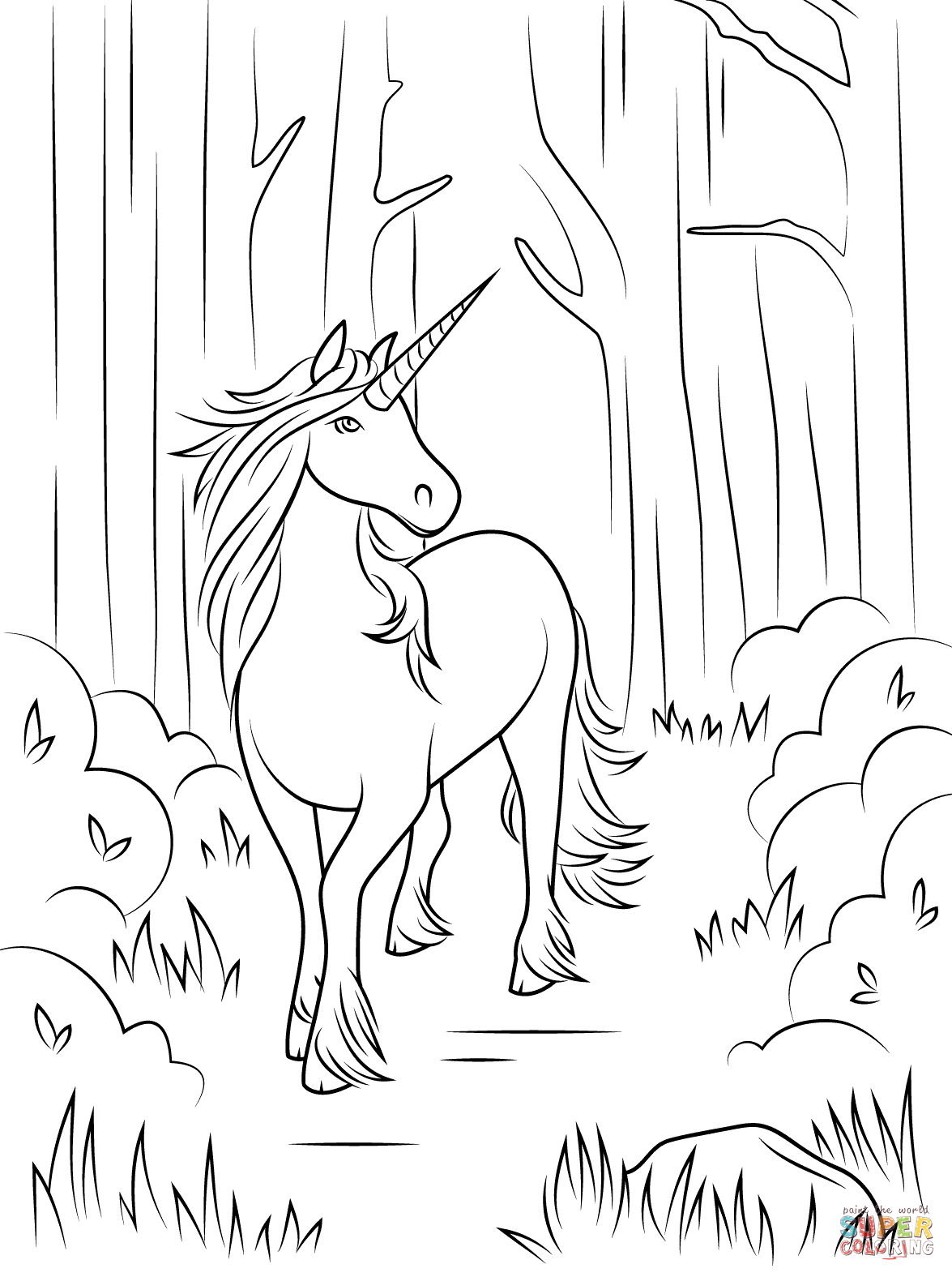 Free printable coloring pages for adults unicorns - Forest Unicorn Coloring Page Free Printable Coloring Pages