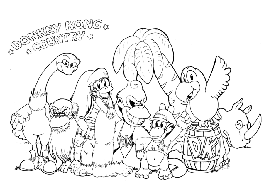 donkey kong coloring pages kids - photo#34