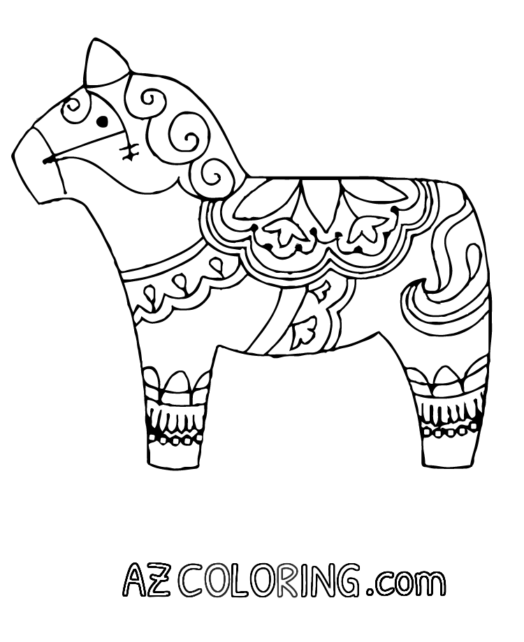 free dala horse coloring pages - photo#8