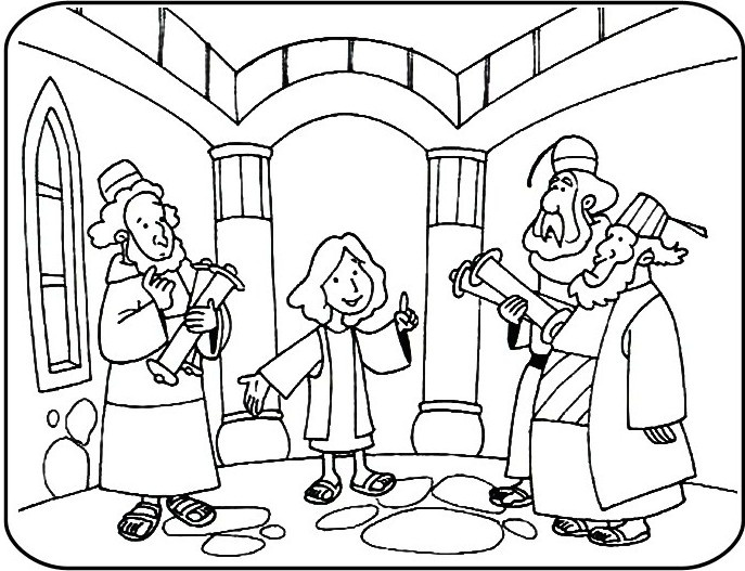 Coloring Pages Jesus In Temple