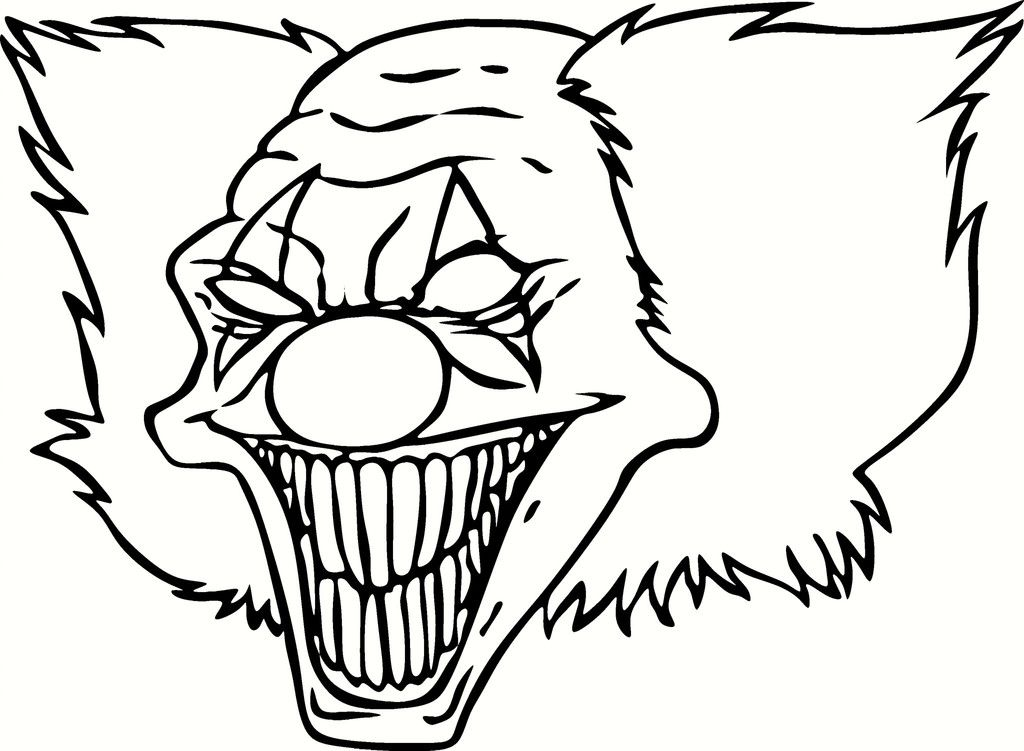 Scary Clown Pictures To Color - Coloring Pages for Kids and for Adults