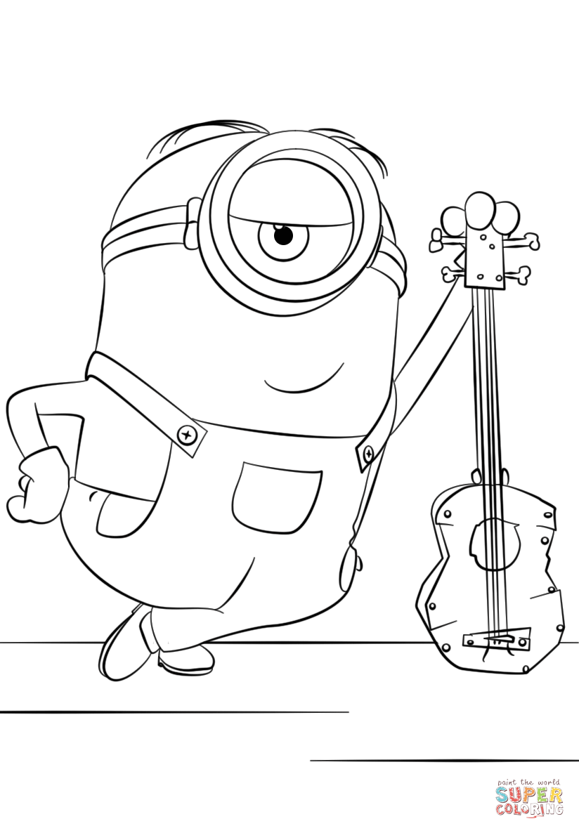 Minion Stuart with Guitar coloring page | Free Printable Coloring ...