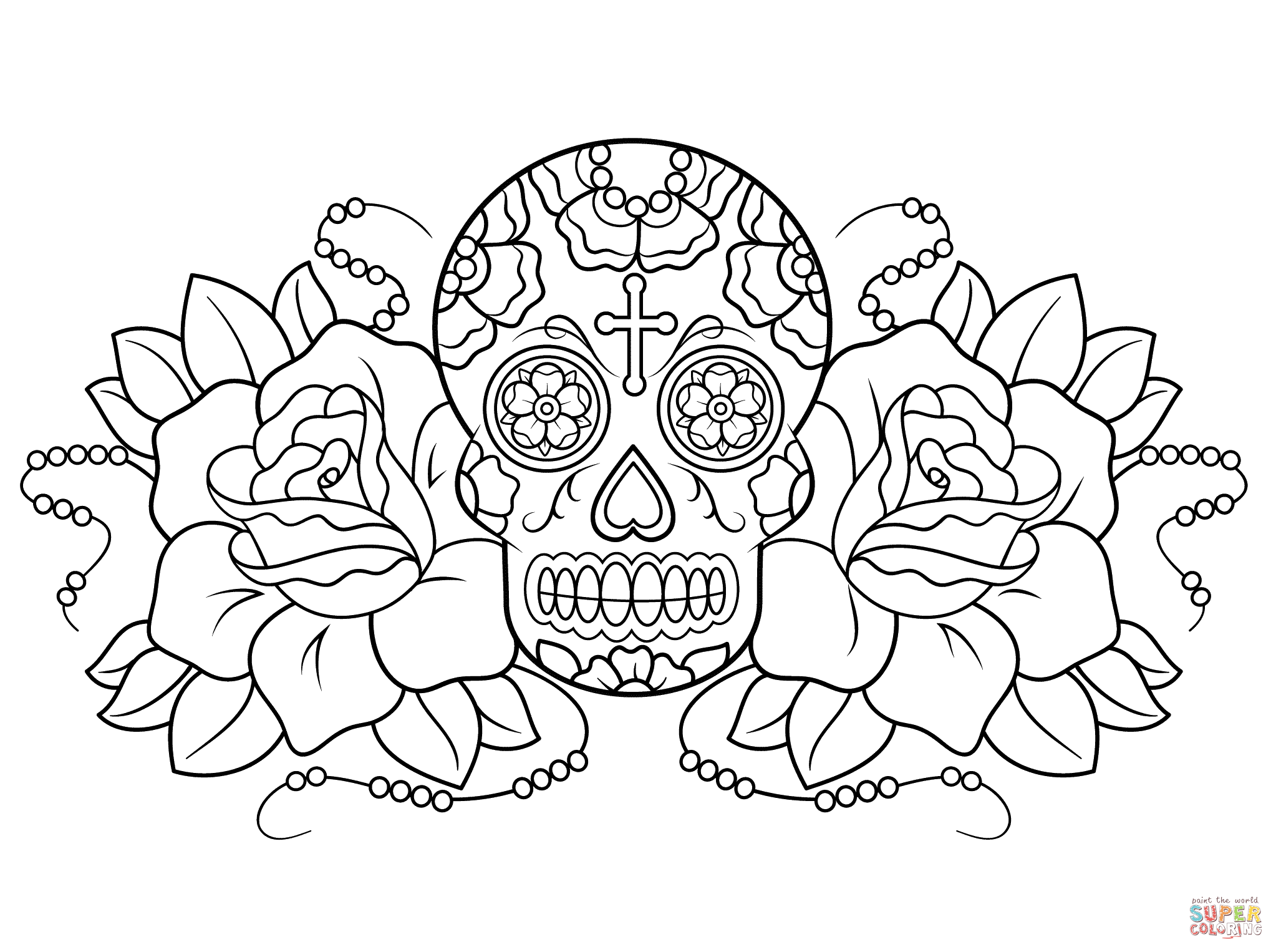 Sugar Skull and Roses coloring page | Free Printable Coloring Pages