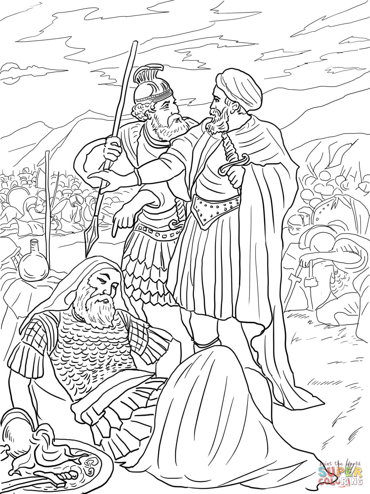 Childrens coloring sheet of saul and ananias - David Spares King Saul Coloring Page Free Printable Coloring Pages