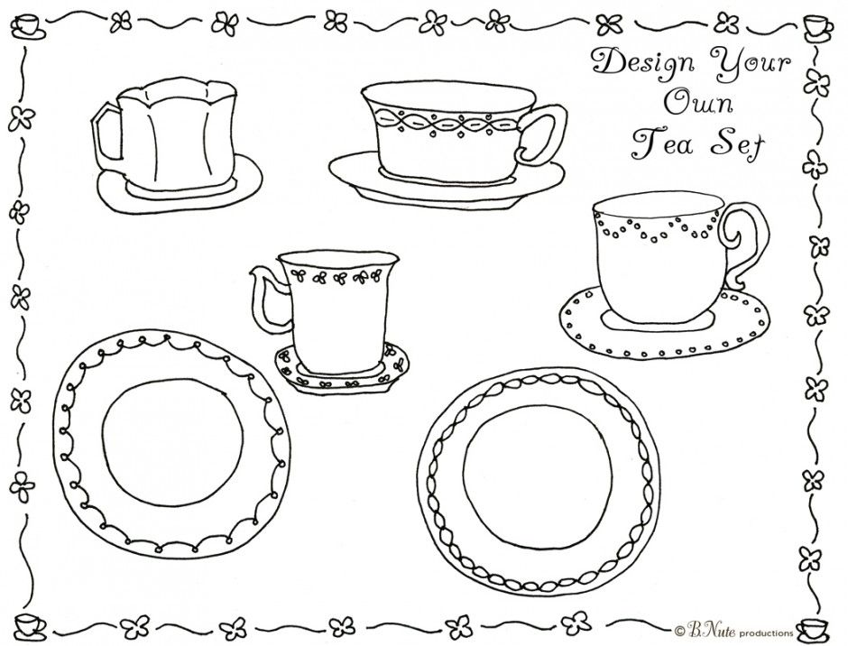 Tea Party Coloring Pages Free - Coloring Home