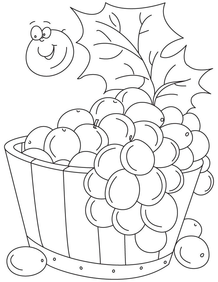Grapes in tub coloring pages | Download Free Grapes in tub