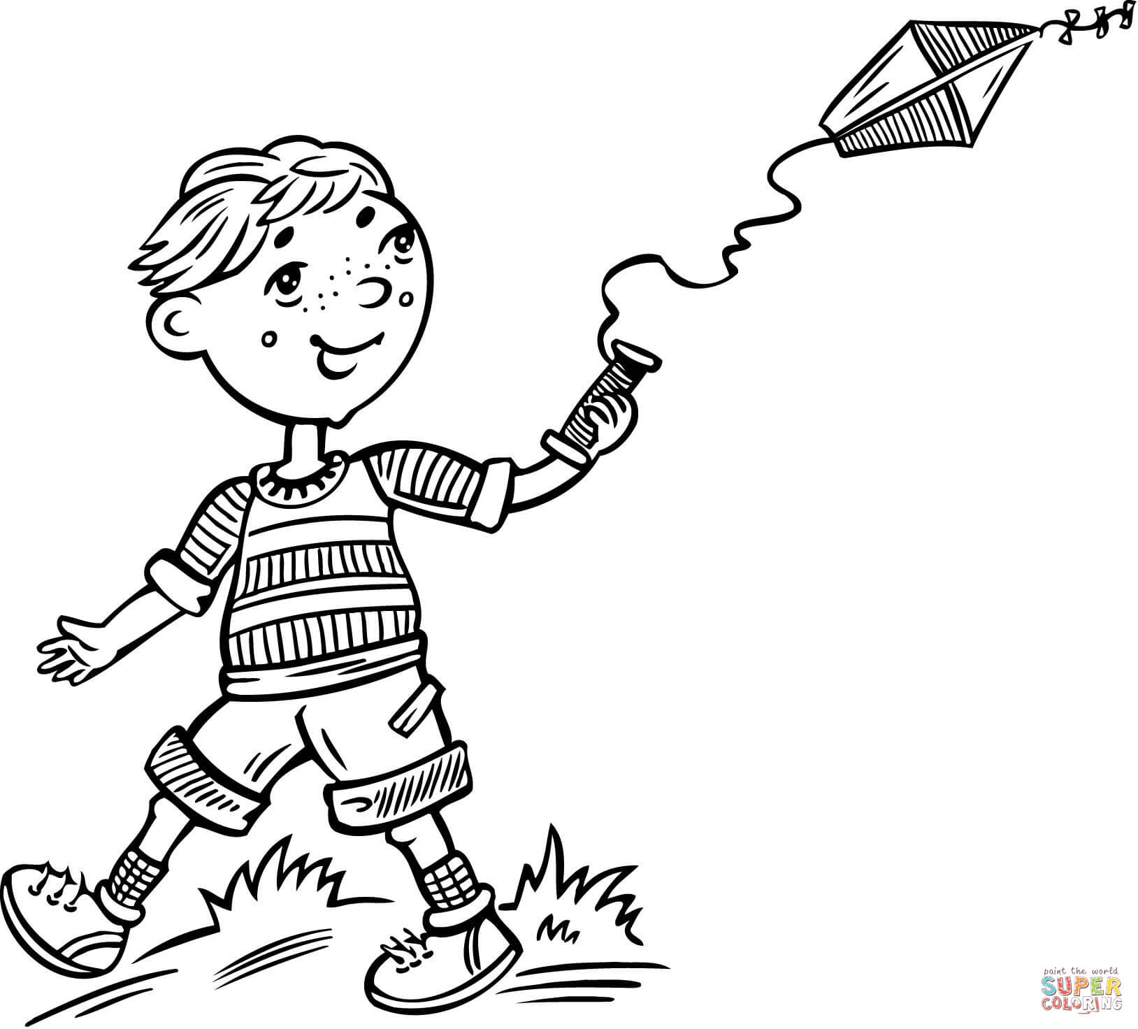 boy flying a kite coloring page free printable coloring pages - Kite Coloring Page
