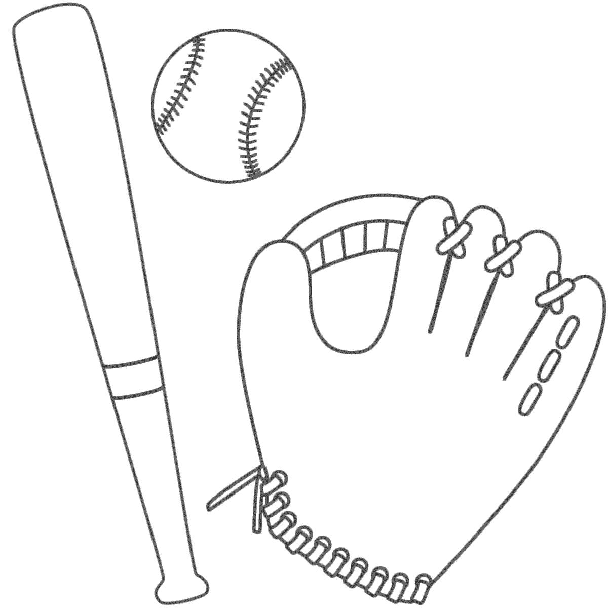 Bat glove and ball coloring page paint it pinterest