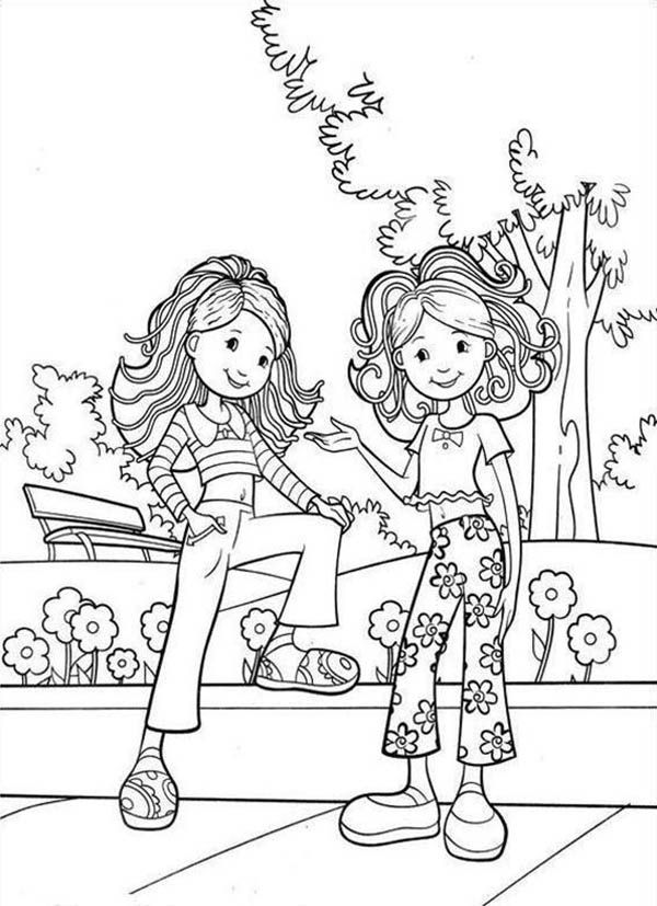 Groovy Girls Waiting for a Date at Park Coloring Pages | Batch ...