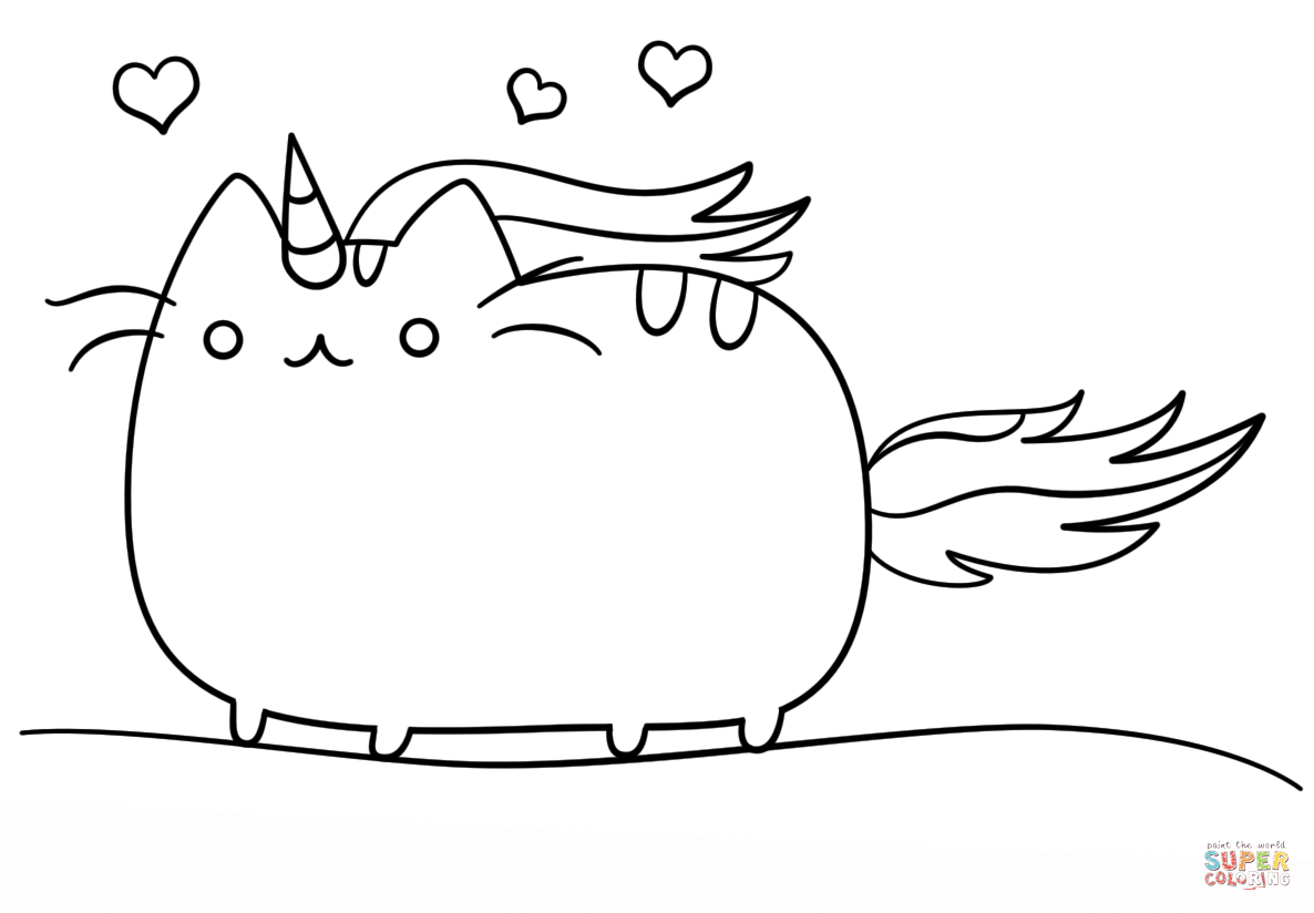kawaii cat unicorn coloring page free printable coloring pages - Free Printable Cat Coloring Pages