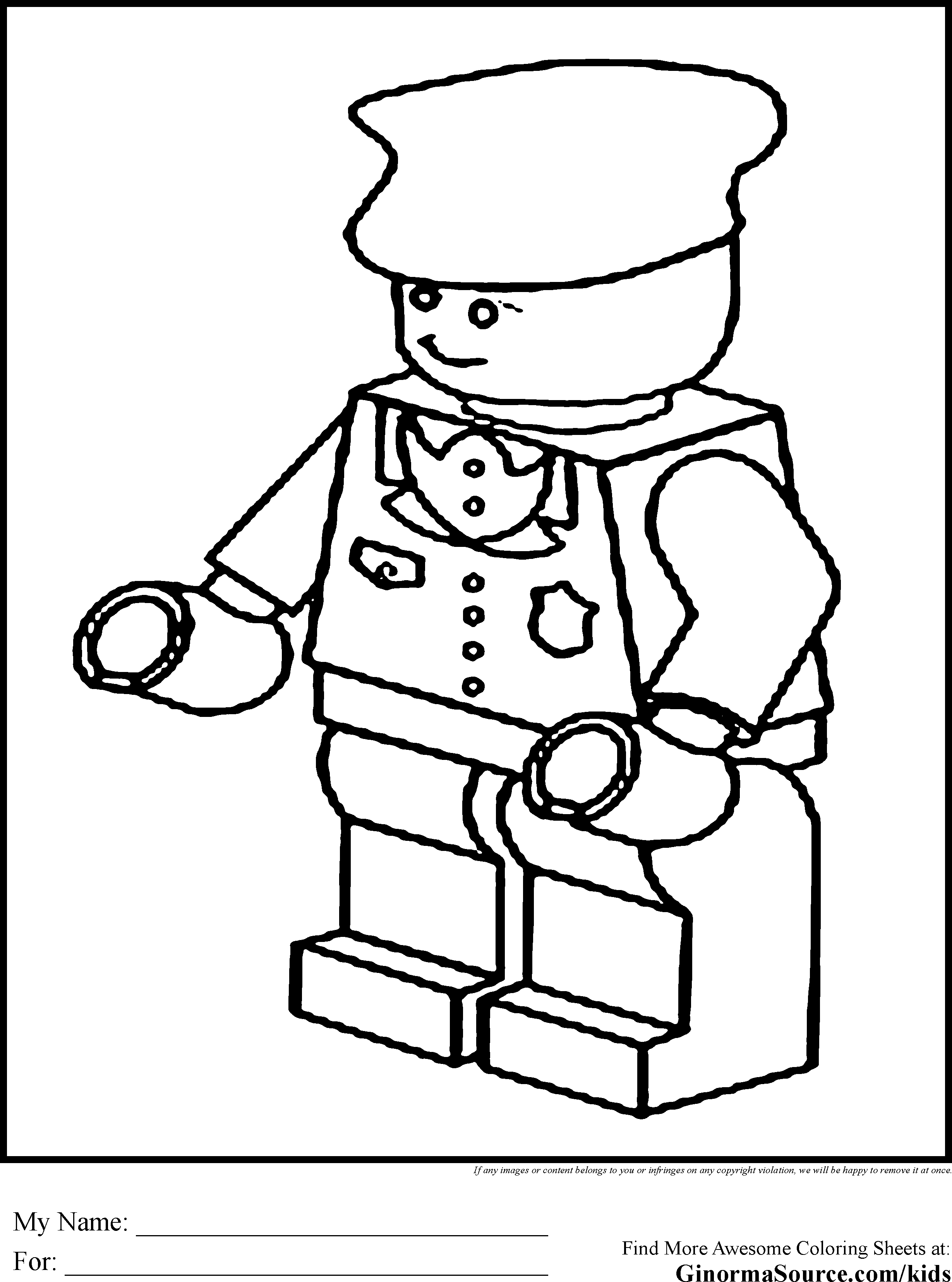 Lego block coloring page