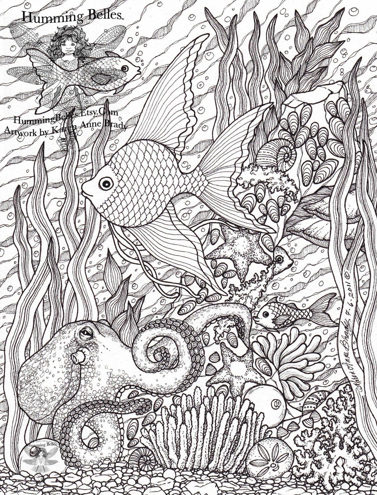 Intricate Coloring Pages for Adults | ... Humming Belles ...