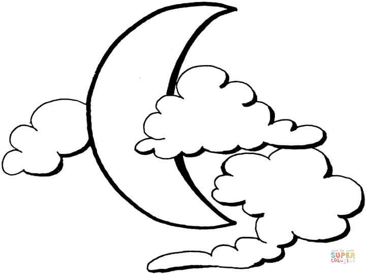 Moon And Clouds Coloring Page Free Printable Coloring Pages