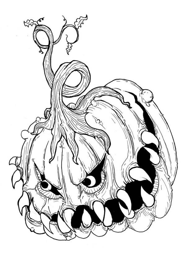 printable scary pumpkin coloring pages - photo#10