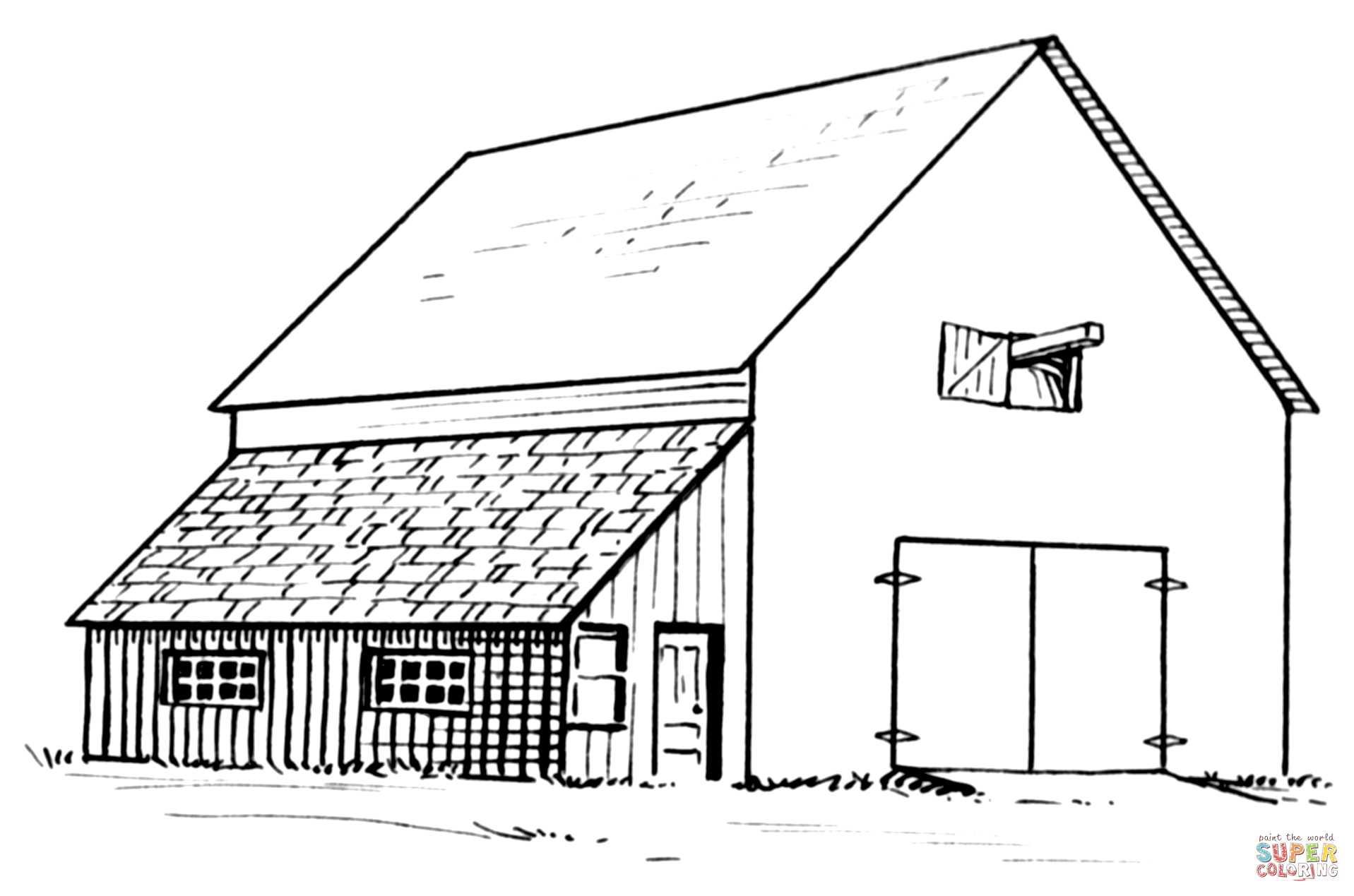 Barn and Lean-to coloring page | Free Printable Coloring Pages