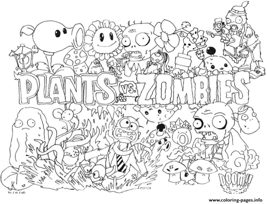 Print 2 Plants Vs Zombies Coloring Pages