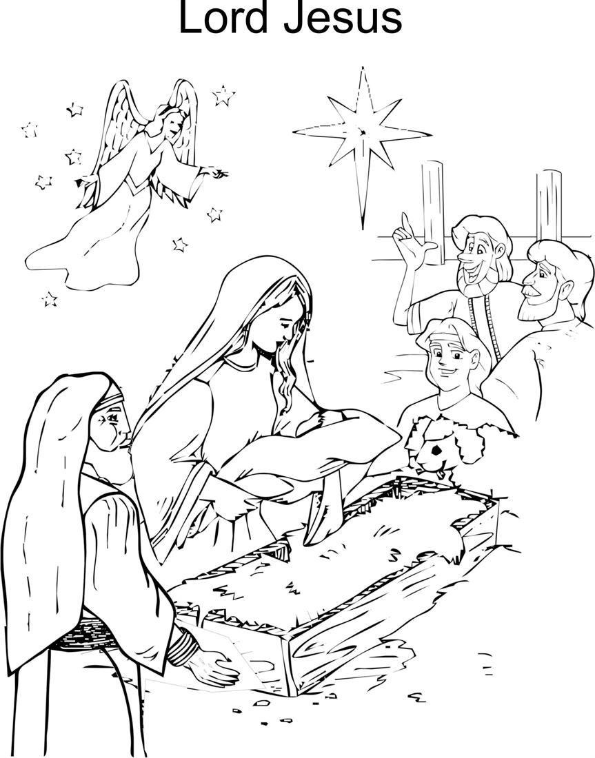 Jesus Birth Coloring Page - Coloring Home