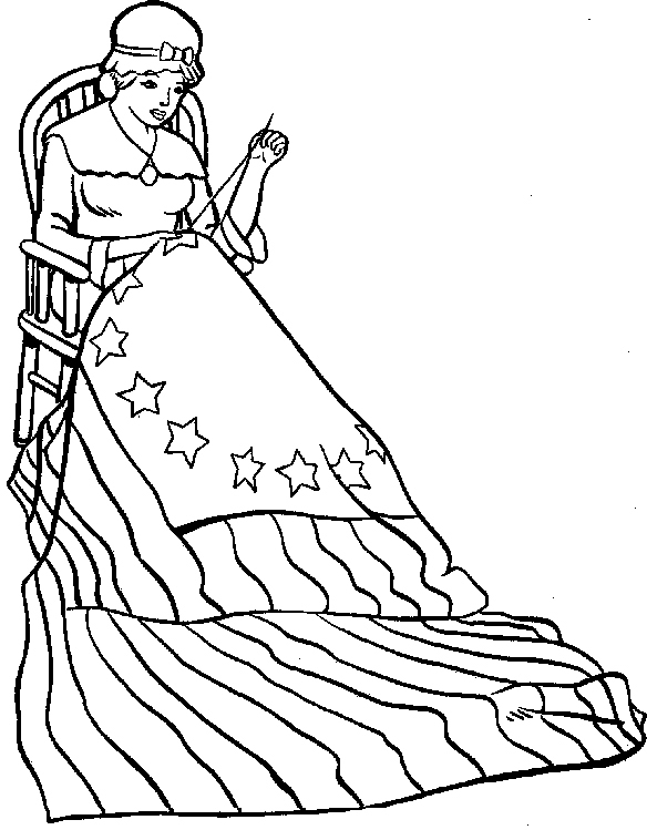 Betsy Ross Flag Coloring Page - AZ Coloring Pages