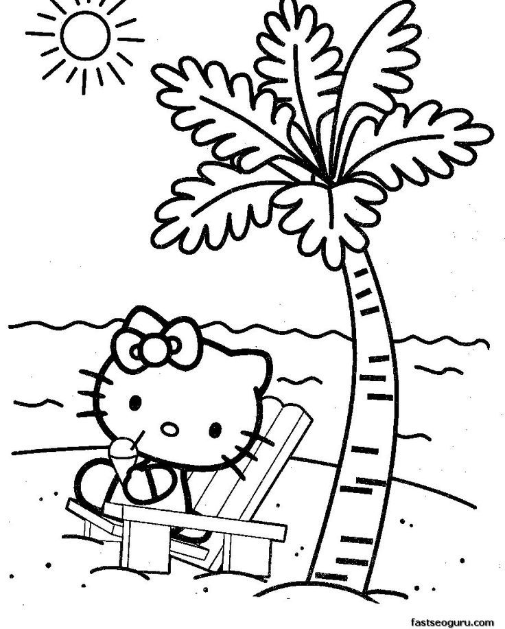 Coloring Pages For The Beach With A Girl On It - Coloring Home