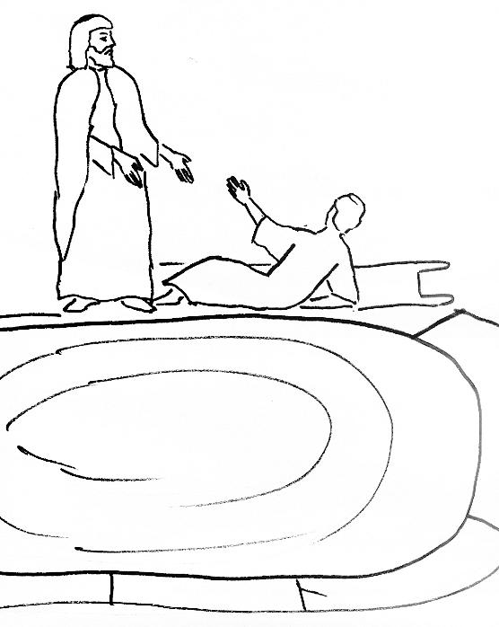 Pool of bethesda coloring page