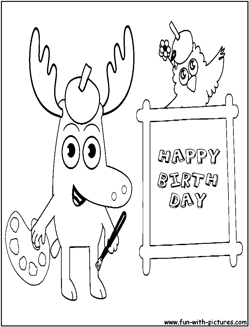 moose and zee happy birthday coloring page