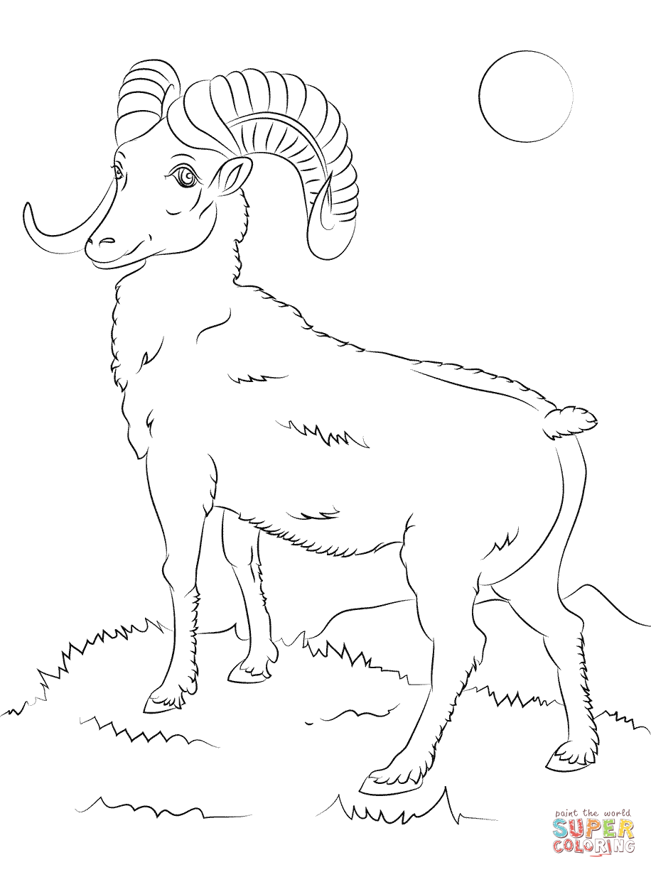 Mountain Bighorn Sheep Coloring Page   Free Printable ...
