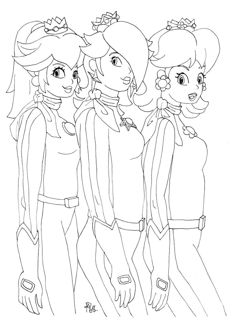 Rosalina peach and daisy coloring pages coloring home for Free printable princess peach coloring pages