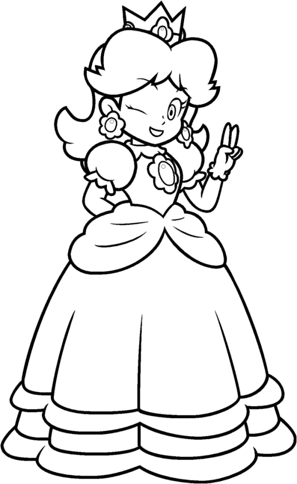 Super mario daisy coloring pages az coloring pages for Free printable princess peach coloring pages