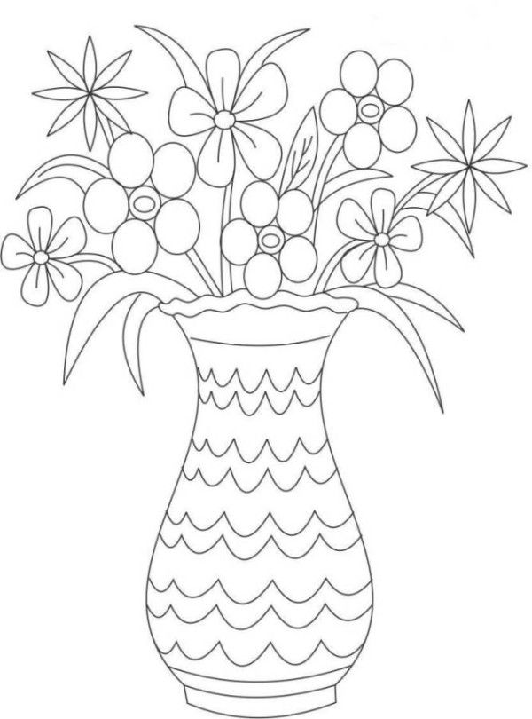 Coloring Pages Of Flowers In A Vase - Coloring