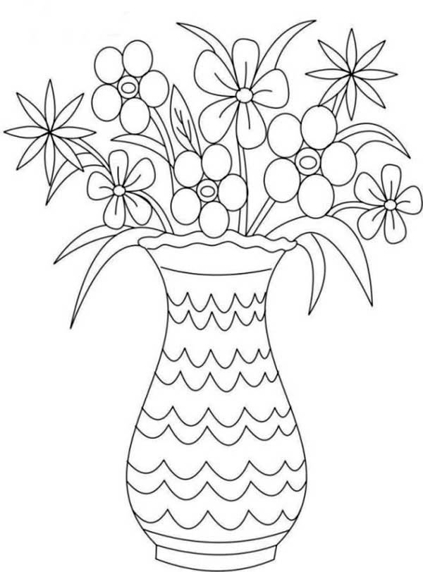 Picture of Flower Bouquet in Vase Coloring Page: Picture of Flower ...