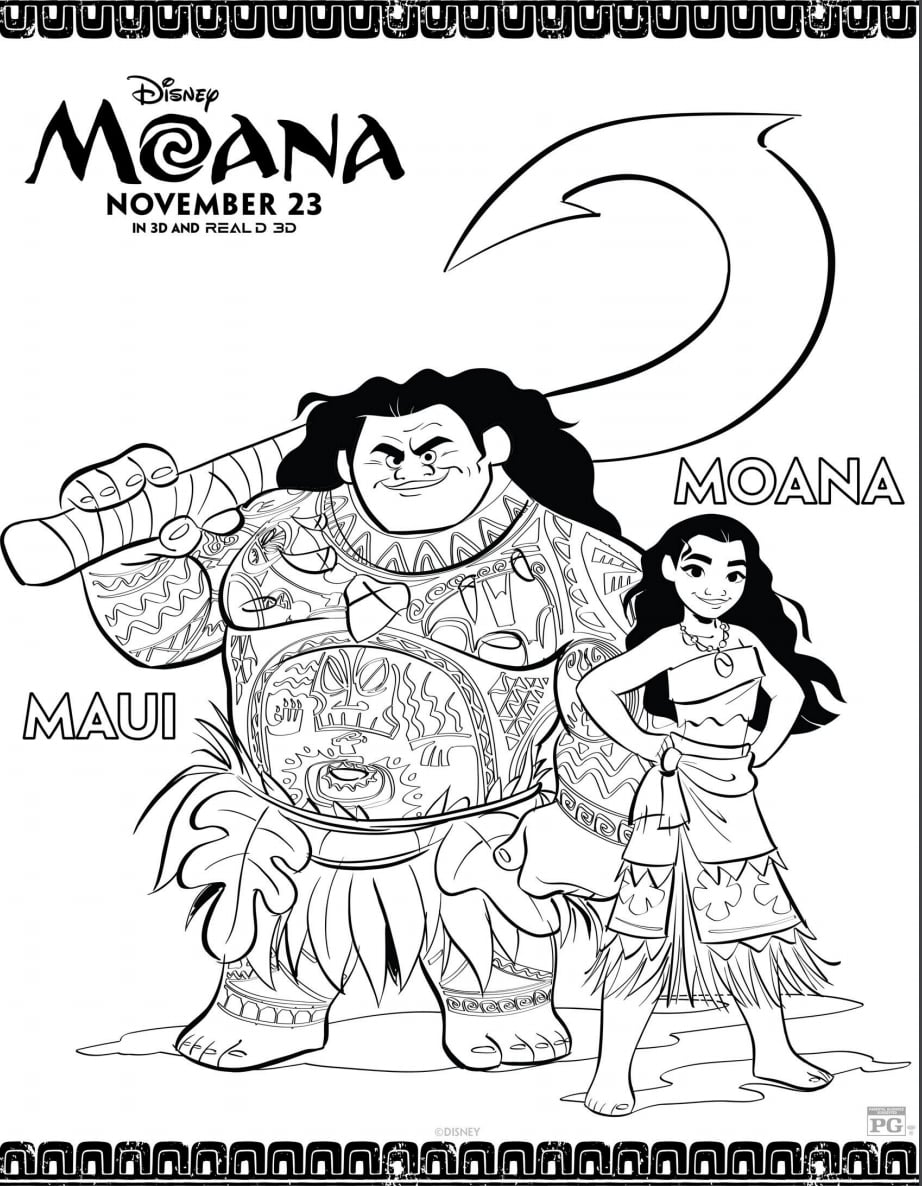 Disney's Printable Moana and Maui Coloring Pages | POPSUGAR Family