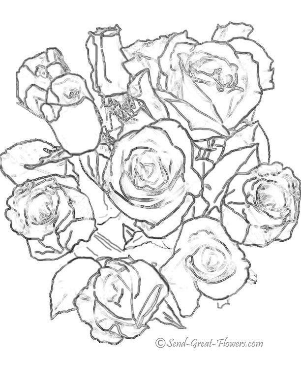 Bouquet Of Flowers Coloring Pages Az Coloring Pages Bouquet Roses Coloring Pages