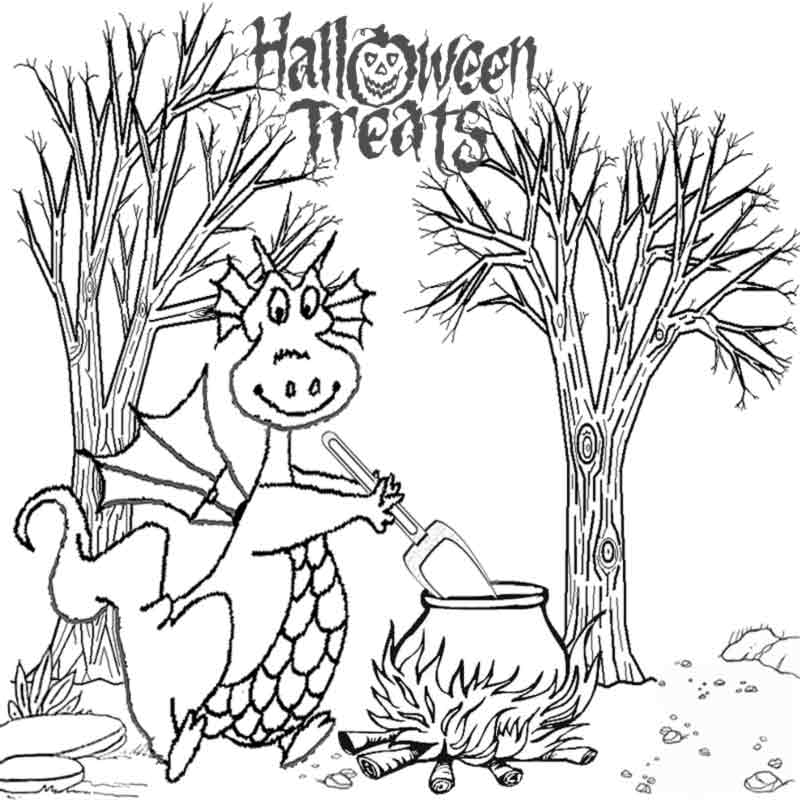 kids halloween dragon coloring pages to color for puff