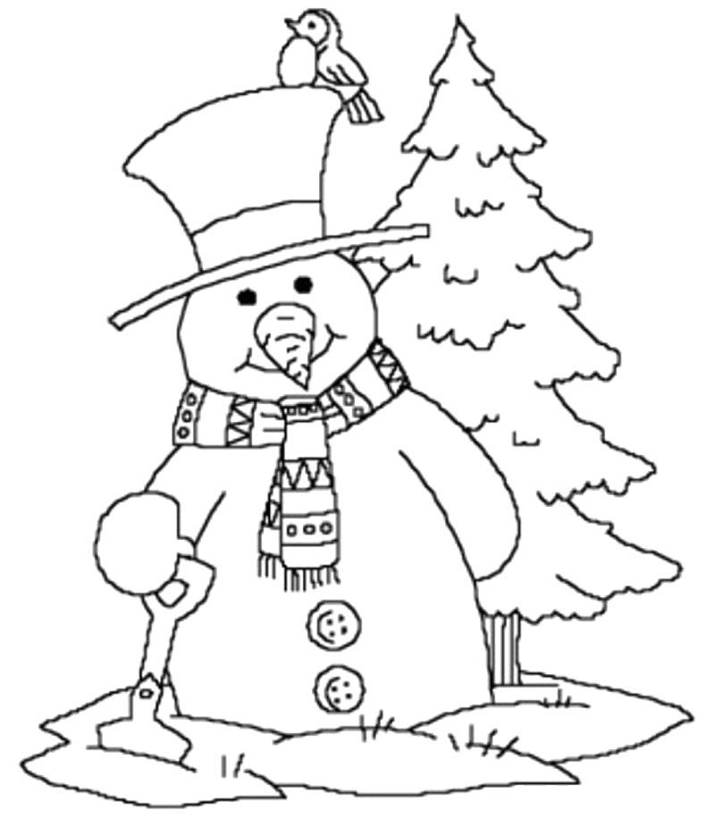 Winter Coloring Pages Snowman Near And Tree Christmas