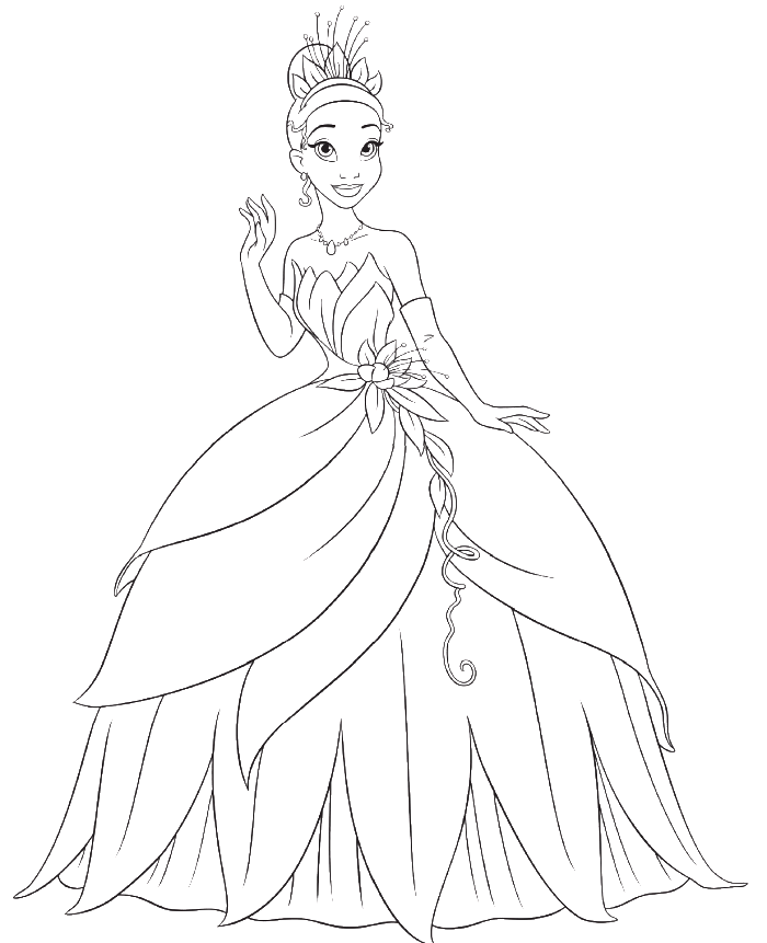 Princess Tiana Coloring: Princess And The Frog Color Pages