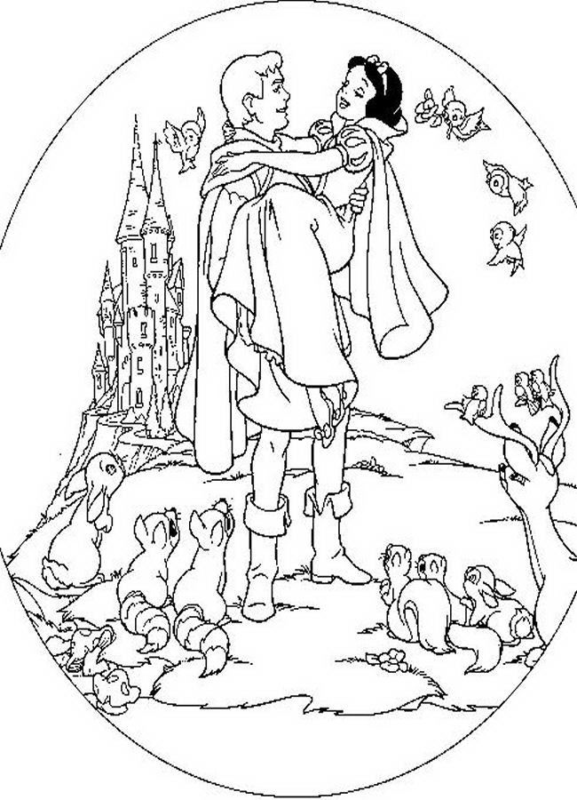 cute princess snow white with prince charming coloring sheets