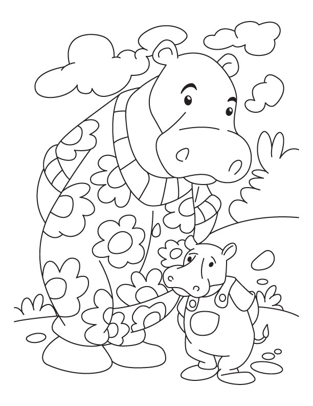 Hippopotamus coloring page az coloring pages for Coqui coloring page