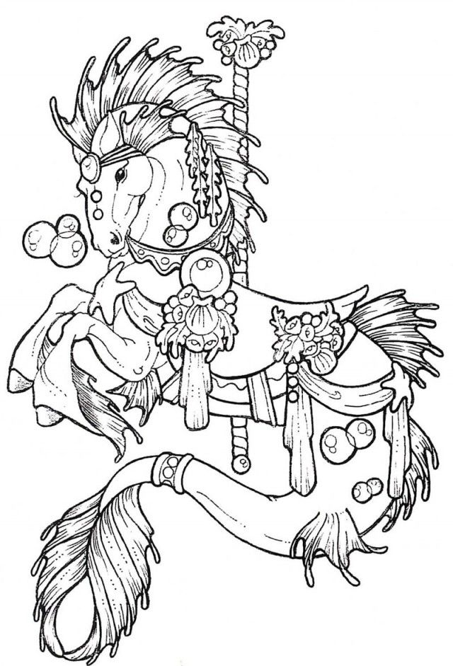 Horse Carousel Colouring Pages 234596 Carousel Horse Coloring Page
