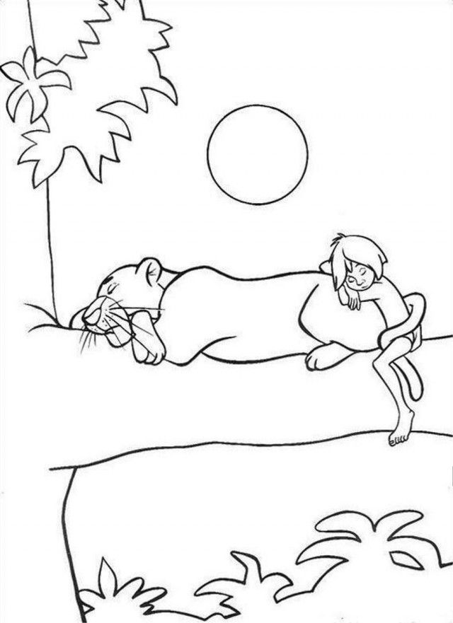 Jungle Book Night Sleeping On Tree Coloring Page Coloringplus