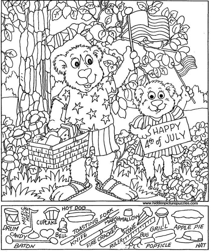 July 4 Coloring Pictures : Hidden pictures publishing: happy 4th of july! coloring home