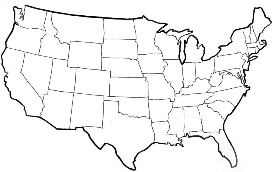 Unlabeled map of north america az coloring pages for North america map coloring page