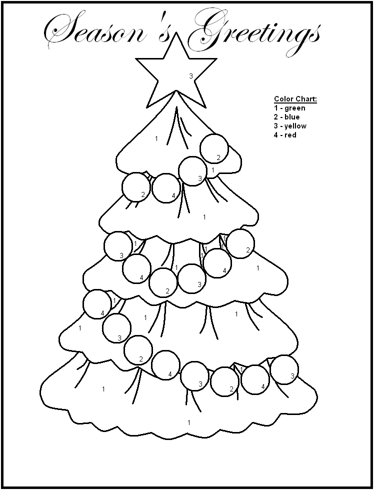 Christmas Color by number Colouring Pages