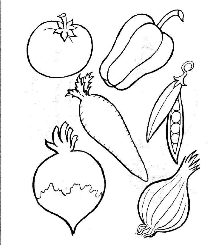 Free Fruits and Vegetables Color Page | Printable Coloring Pages