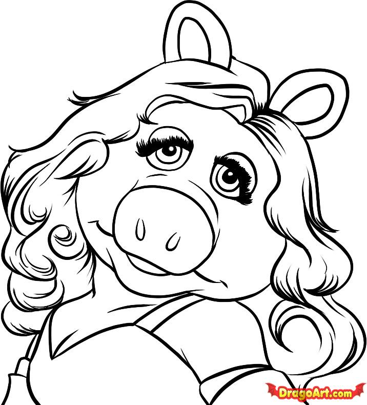 Little Miss Drawings Draw Miss Piggy Step by Step